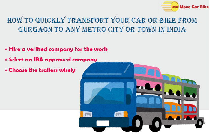 How to quickly Transport your Car or Bike from Gurgaon to any Metro City or Town in India