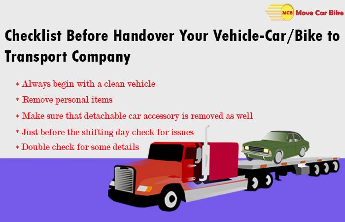 Checklist before handover your Vehicle-Car/Bike to transport company